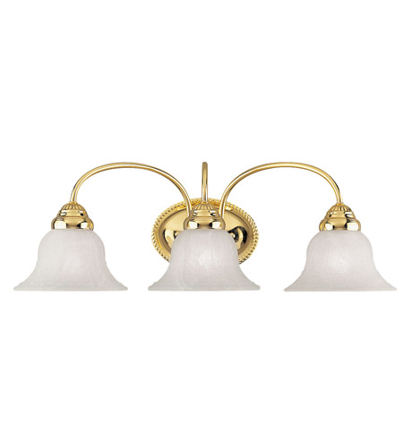 Livex 1533-02 Edgemont 3 Light 24 inch Polished Brass Bath Light Wall Light photo