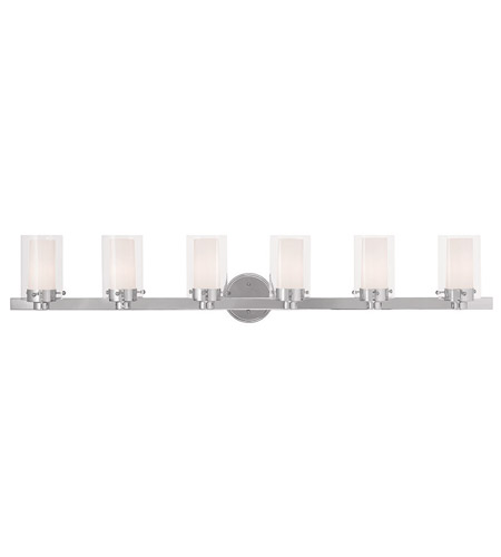 Livex 15456 05 Manhattan 6 Light 48 Inch Polished Chrome Vanity Wall