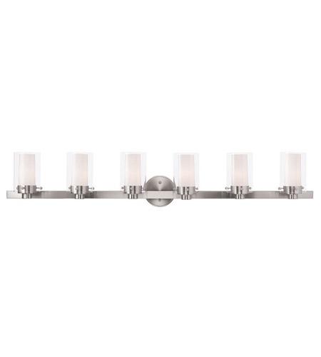 Livex 15456-91 Manhattan 6 Light 48 inch Brushed Nickel ...