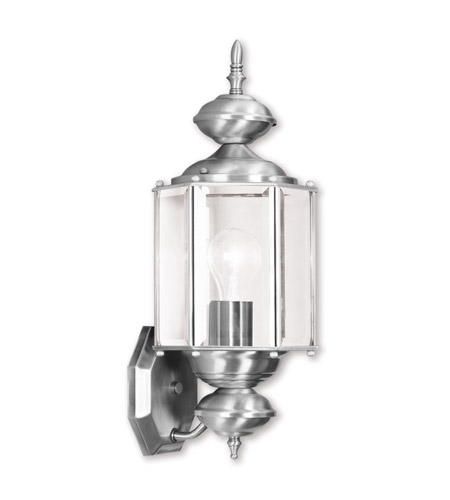 Livex Lighting Outdoor Basics 1 Light Outdoor Wall Lantern in Brushed Nickel 2006-91 photo
