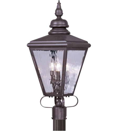 Livex 2034-07 Cambridge 3 Light 29 inch Bronze Outdoor Post Head photo