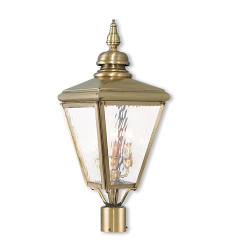 Livex 20433 01 Cambridge 3 Light 27 Inch Antique Br Post Top Lantern