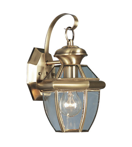 Livex 2051-01 Monterey 1 Light 13 inch Antique Brass Outdoor Wall Lantern photo