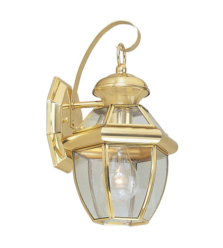 Livex Lighting Monterey 1 Light Outdoor Wall Lantern in Polished Brass 2051-02 photo