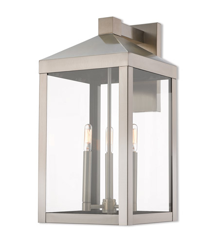 Livex 20585 91 Nyack 3 Light 22 Inch Brushed Nickel Outdoor Wall Lantern