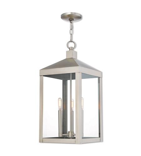 Nyack 3 Light 11 Inch Brushed Nickel Outdoor Pendant Lantern