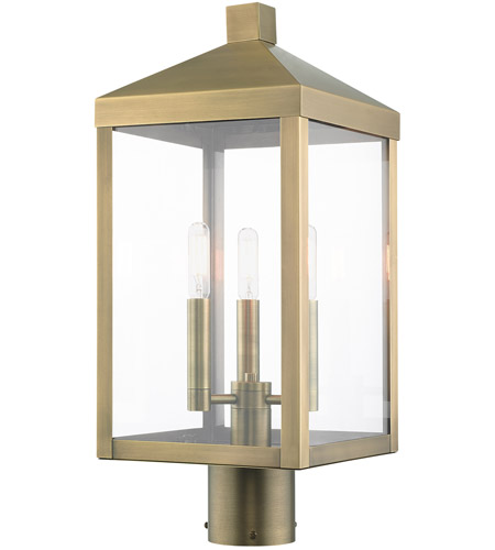 Livex 20592-01 Nyack 3 Light 20 inch Antique Brass Outdoor Post Top Lantern photo thumbnail