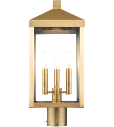 Livex 20592-01 Nyack 3 Light 20 inch Antique Brass Outdoor Post Top Lantern alternative photo thumbnail