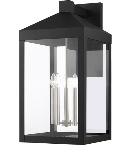 Livex Lighting 20598-04 Nyack 5 Light 29 inch Black with Brushed Nickel Cluster Outdoor Wall Lantern photo