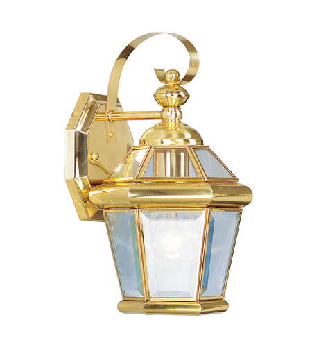 Livex Georgetown 1 Light Outdoor Wall Lantern in Polished Brass 2061-02 photo