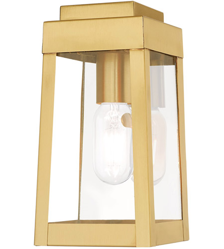 Livex Satin Brass Outdoor Wall Lights