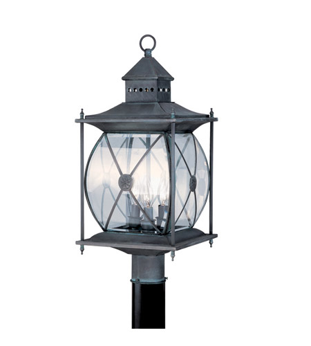 Livex Lighting Providence 3 Light Outdoor Post Head in Charcoal 2096-61 photo