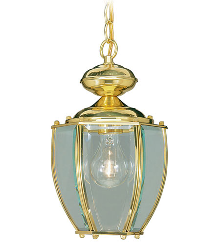 Livex Lighting Outdoor Basics 1 Light Outdoor Hanging Lantern in Polished Brass 2113-02 photo