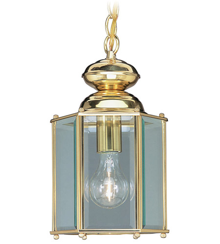 Livex 2116-02 Outdoor Basics 1 Light 7 inch Polished Brass Outdoor Hanging Lantern photo