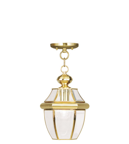 Livex 2152-02 Monterey 1 Light 9 inch Polished Brass Outdoor Hanging Lantern photo