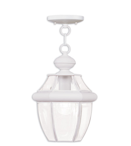 Livex Lighting Monterey 1 Light Outdoor Hanging Lantern in White 2152-03 photo