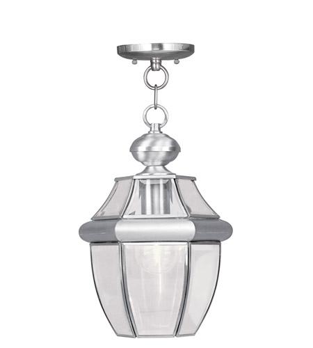 Livex Lighting Monterey 1 Light Outdoor Hanging Lantern in Brushed Nickel 2152-91 photo