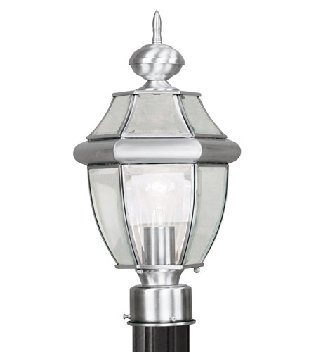 Livex Lighting Monterey 1 Light Outdoor Post Head in Brushed Nickel 2153-91 photo