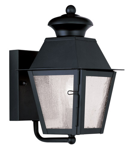 Livex Lighting Mansfield 1 Light Outdoor Wall Lantern in Black 2160-04 photo