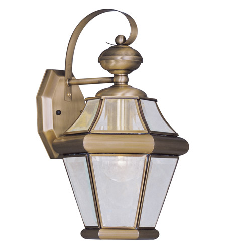 Livex Lighting Georgetown 1 Light Outdoor Wall Lantern in Antique Brass 2161-01 photo