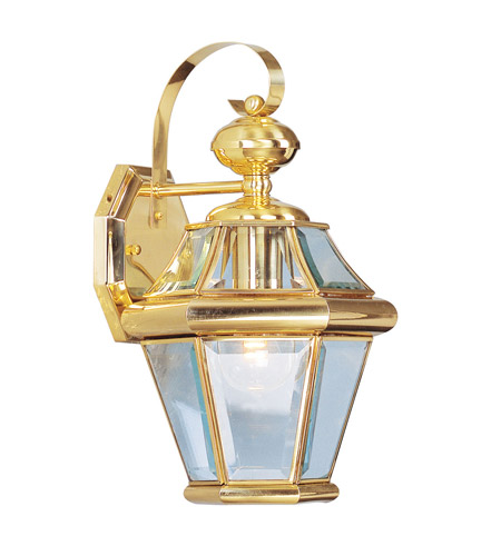 Livex Lighting Georgetown 1 Light Outdoor Wall Lantern in Polished Brass 2161-02 photo