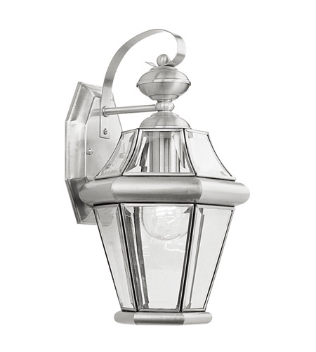 Livex Lighting Georgetown 1 Light Outdoor Wall Lantern in Brushed Nickel 2161-91 photo