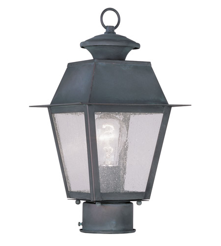 Livex 2163-61 Mansfield 1 Light 14 inch Charcoal Outdoor Post Head photo