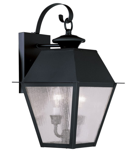 Livex Lighting Mansfield 2 Light Outdoor Wall Lantern in Black 2165-04 photo