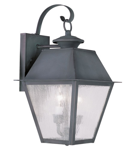 Livex Lighting Mansfield 2 Light Outdoor Wall Lantern in Charcoal 2165-61 photo