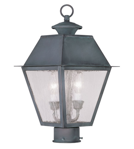 Livex Lighting Mansfield 2 Light Outdoor Post Head in Charcoal 2166-61 photo