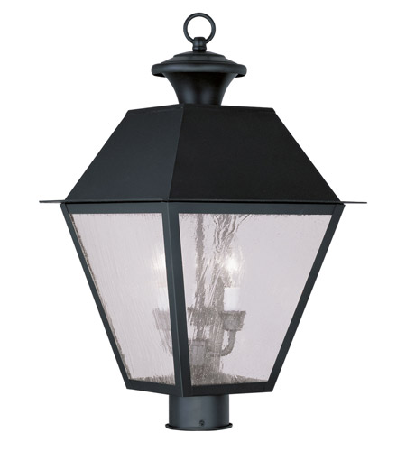 Livex Lighting Mansfield 3 Light Outdoor Post Head in Black 2169-04 photo