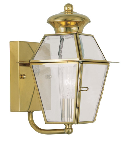 Livex Lighting Westover 1 Light Outdoor Wall Lantern in Polished Brass 2180-02 photo