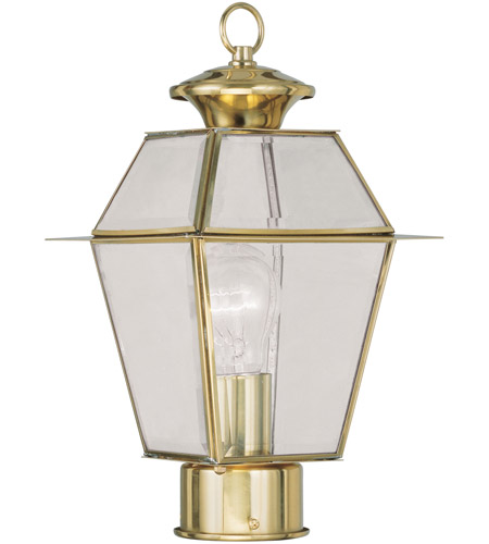 Livex 2182-02 Westover 1 Light 14 inch Polished Brass Outdoor Post Head photo