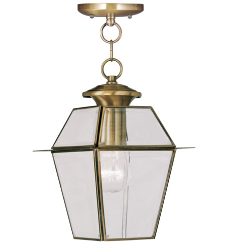 Livex 2183-01 Westover 1 Light 8 inch Antique Brass Outdoor Hanging Lantern photo