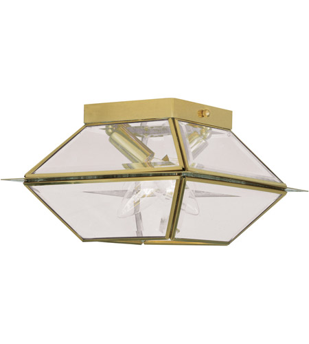 Livex Lighting Westover 2 Light Outdoor Ceiling Mount in Polished Brass 2184-02 photo