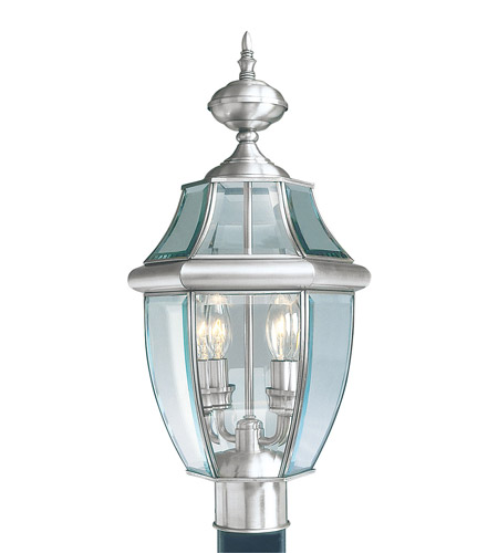Livex Lighting Monterey 2 Light Outdoor Post Head in Brushed Nickel 2254-91 photo