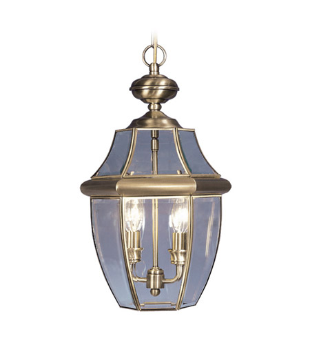 Livex Lighting Monterey 2 Light Outdoor Hanging Lantern in Antique Brass 2255-01 photo