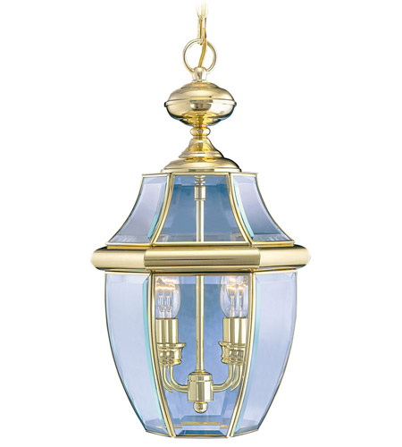 Livex Lighting Monterey 2 Light Outdoor Hanging Lantern in Polished Brass 2255-02 photo