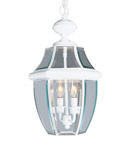 Livex Lighting Monterey 2 Light Outdoor Hanging Lantern in White 2255-03 photo