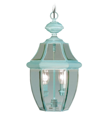 Livex Lighting Monterey 2 Light Outdoor Hanging Lantern in Verdigris 2255-06 photo