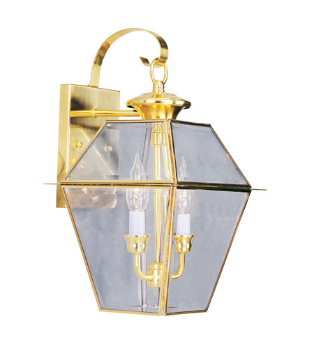 Livex 2281-02 Westover 2 Light 17 inch Polished Brass Outdoor Wall Lantern photo