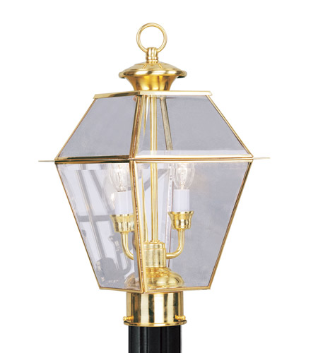 Livex 2284-02 Westover 2 Light 17 inch Polished Brass Outdoor Post Head photo