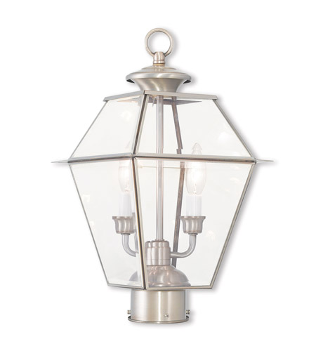Livex 2284-91 Westover 2 Light 17 inch Brushed Nickel Post-Top Lantern photo