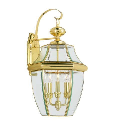 Livex 2351-02 Monterey 3 Light 23 inch Polished Brass Outdoor Wall Lantern photo