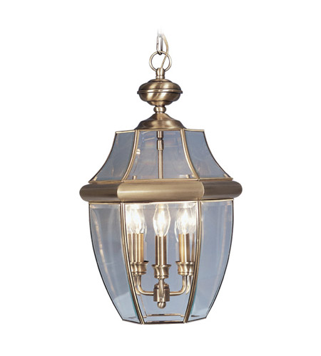 Livex Lighting Monterey 3 Light Outdoor Hanging Lantern in Antique Brass 2355-01 photo