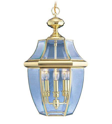 Livex 2355-02 Monterey 3 Light 13 inch Polished Brass Outdoor Hanging Lantern photo