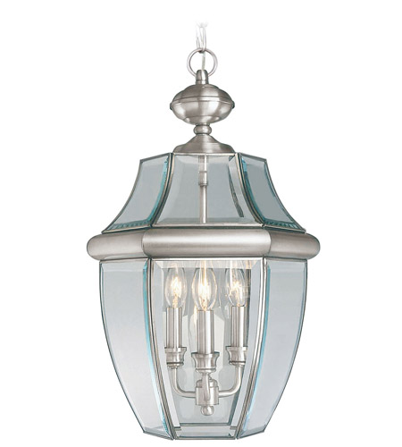Livex 2355-91 Monterey 3 Light 13 inch Brushed Nickel Outdoor Hanging Lantern photo