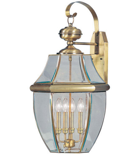 Livex Lighting Monterey 4 Light Outdoor Wall Lantern in Antique Brass 2356-01 photo
