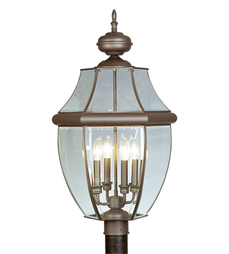 Livex Lighting Monterey 4 Light Outdoor Post Head in Bronze 2358-07 photo