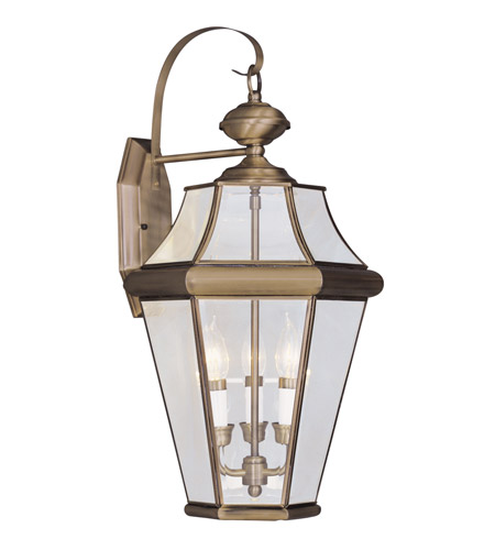 Livex Lighting Georgetown 3 Light Outdoor Wall Lantern in Antique Brass 2361-01 photo